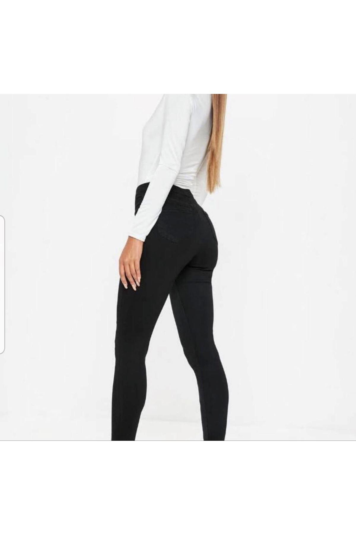 Siyah yüksek bel cepsiz skinny jean