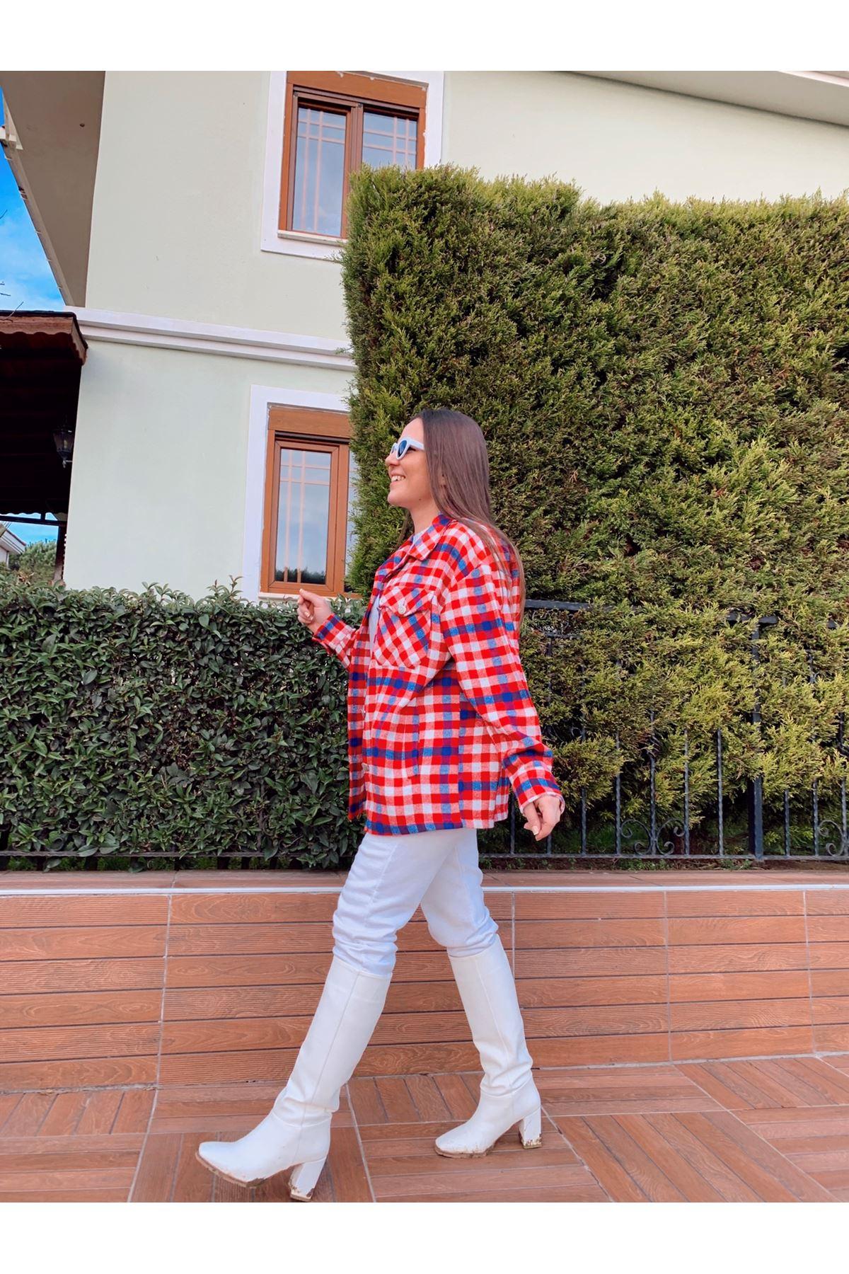 Ekose oduncu kırmızı gömlek ceket
