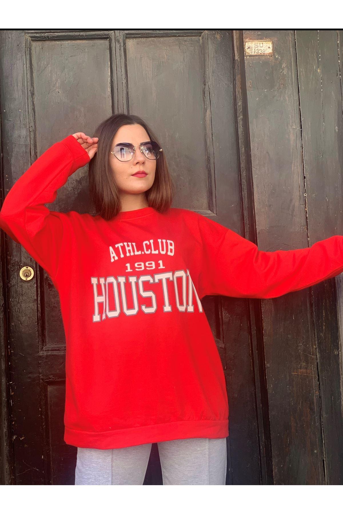 Houston Baskılı Kırmızı Sweat