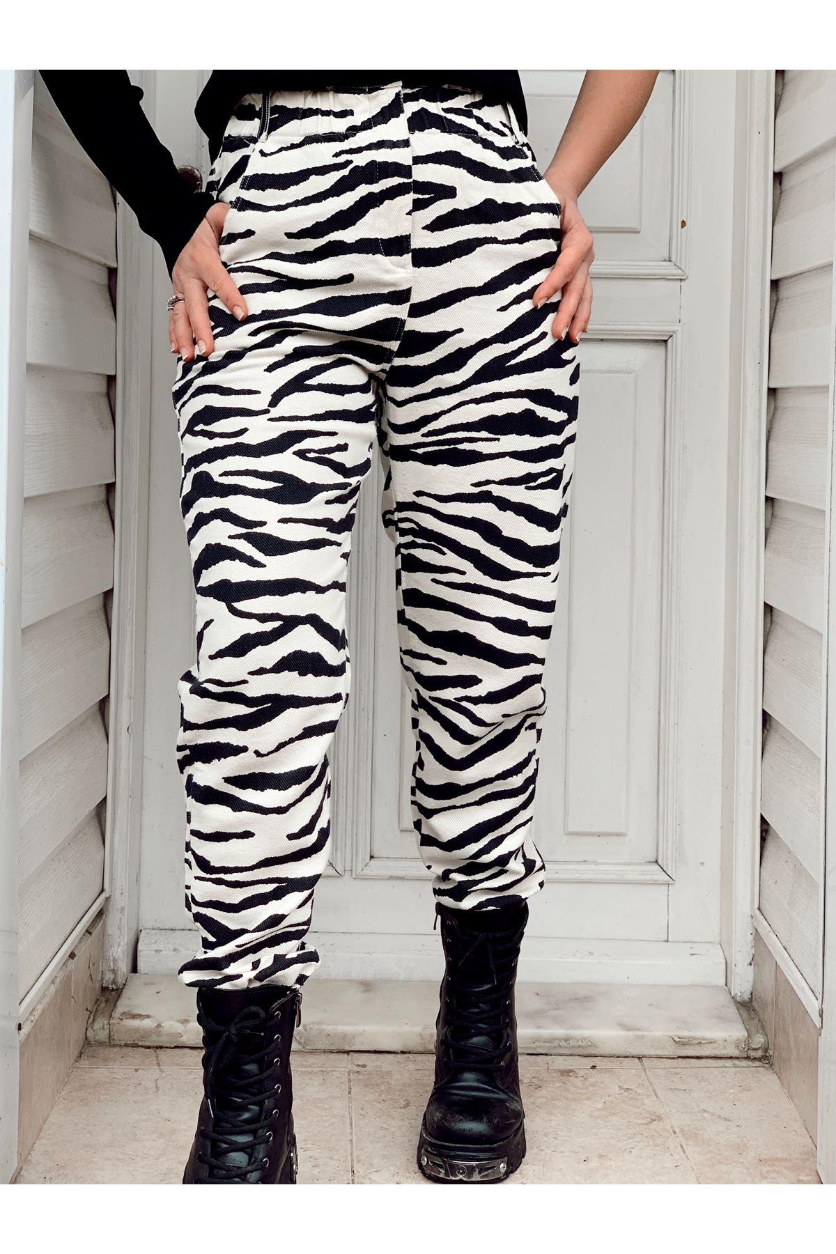 Zebra desen yüksek bel gabardin pantolon