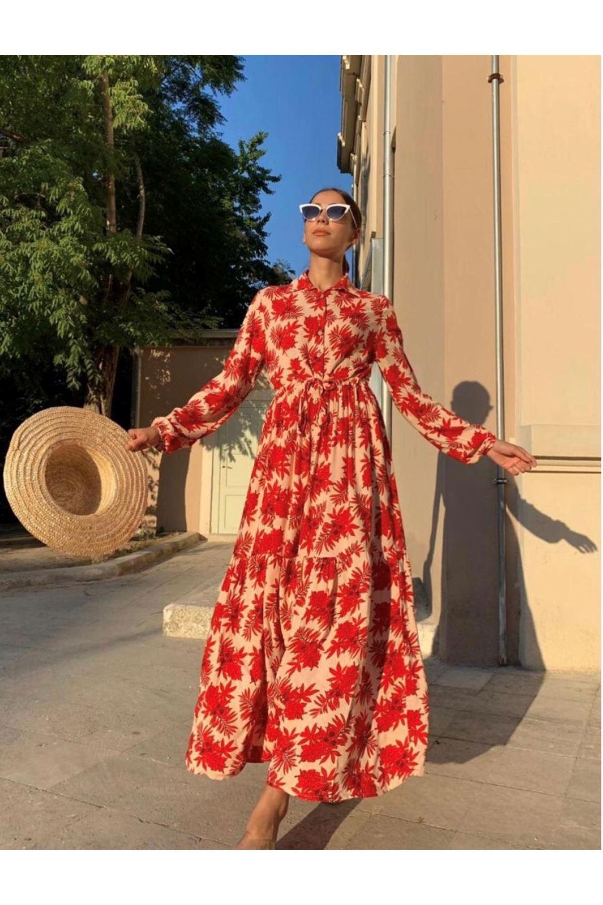 Kırmızı çiçek desenli maxi gömlek elbise