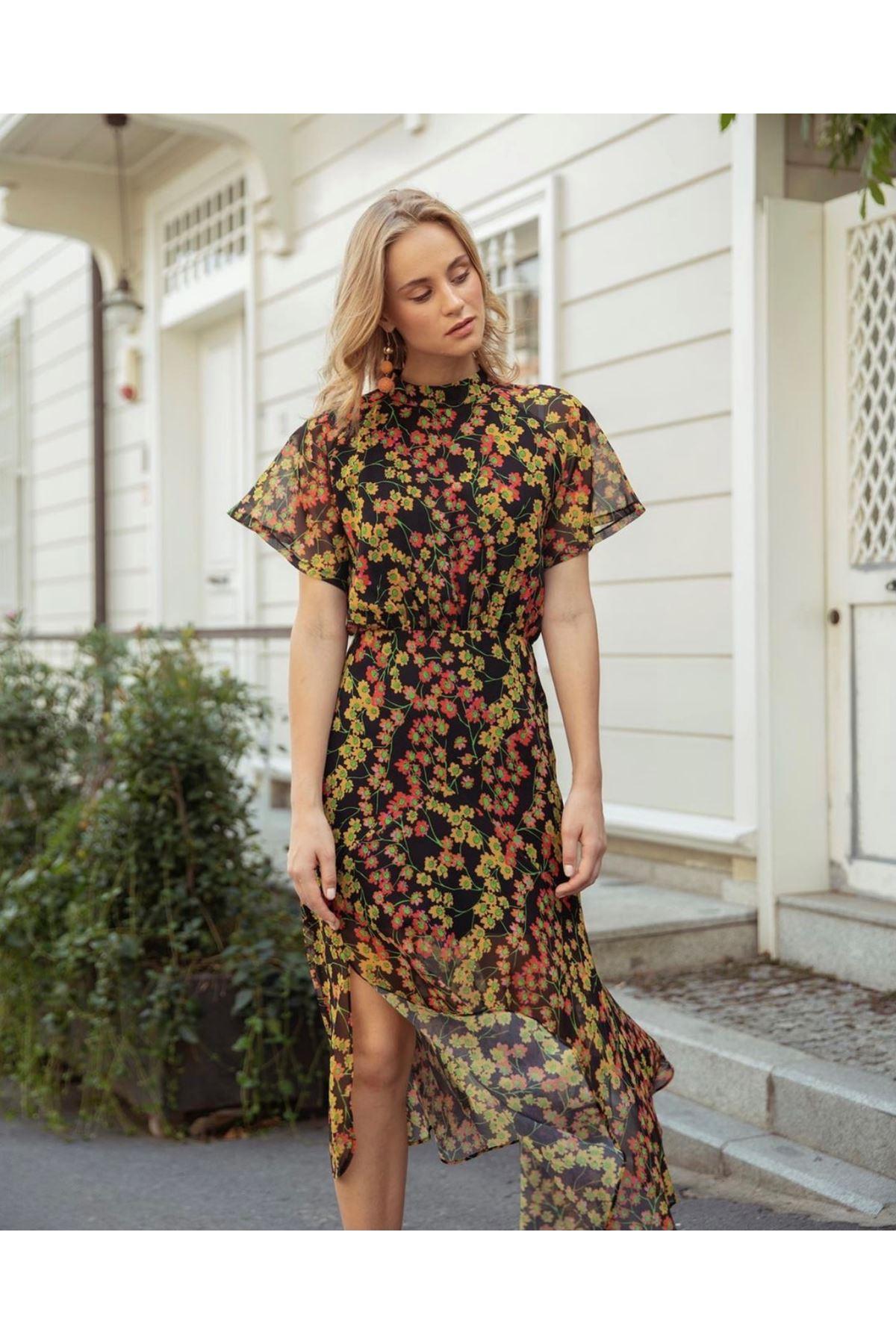 Çiçek Desen Şifon Elbise