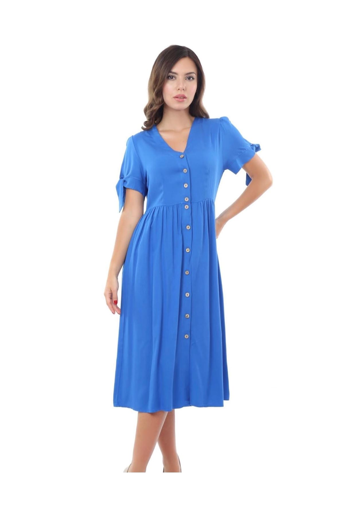 V yaka düğme ve kol detaylı sax penye elbise
