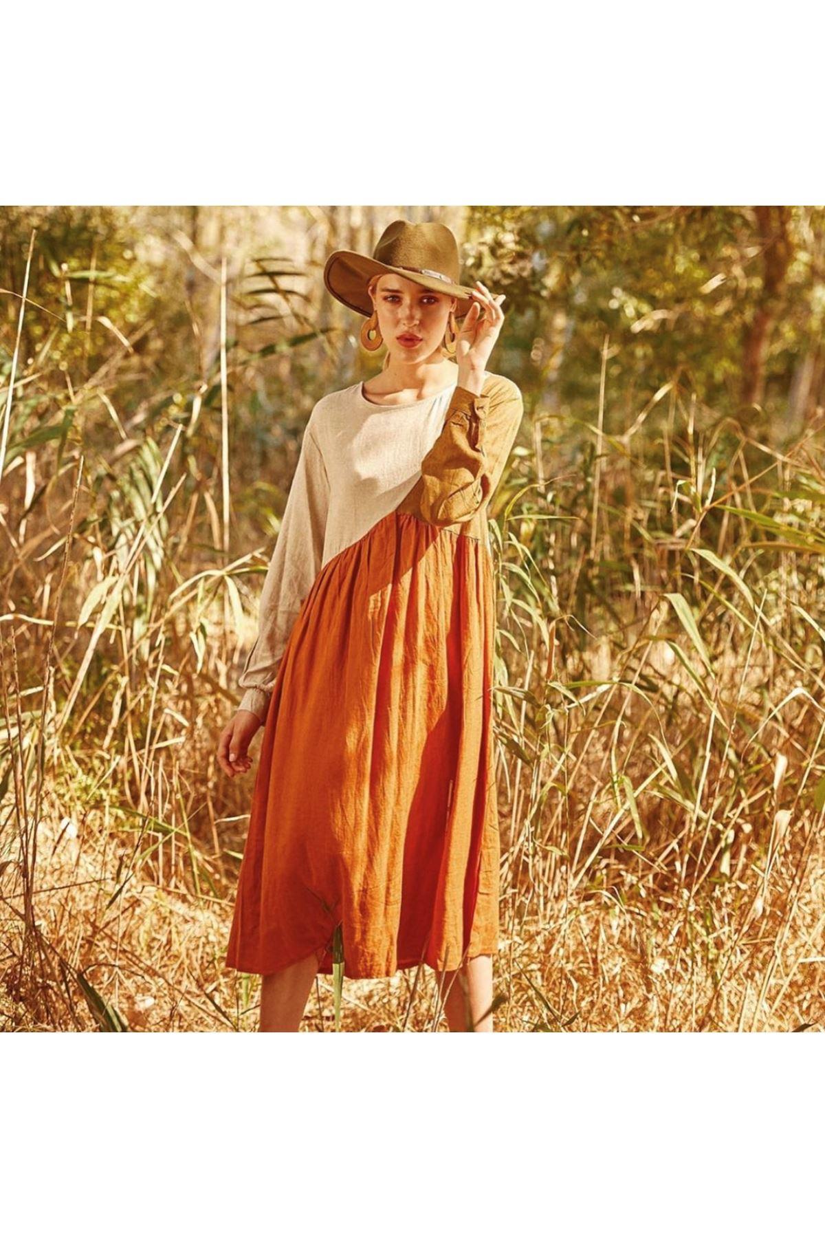 Renk detaylı keten elbise