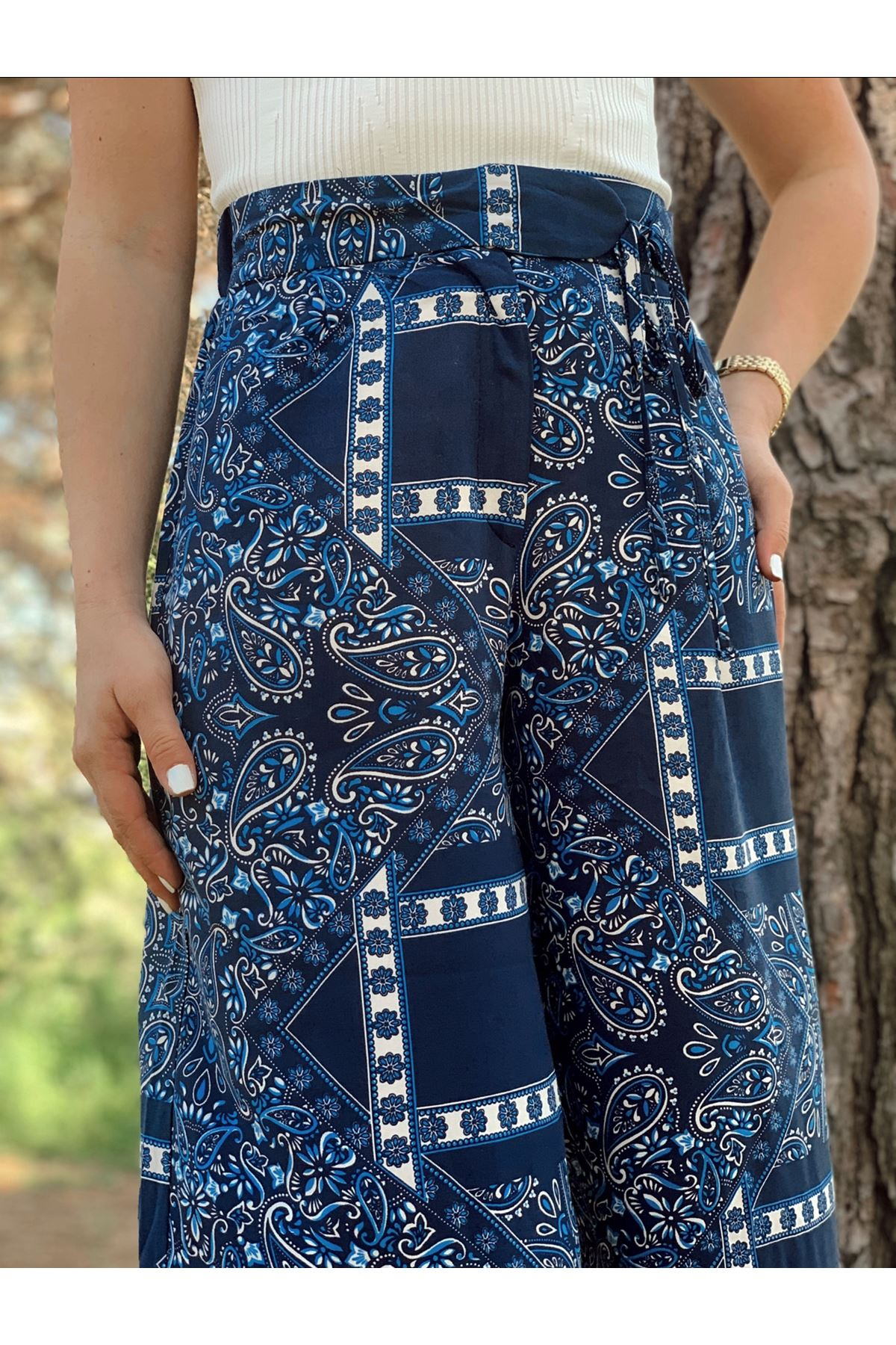 Etnik desen salaş lacivert pantolon