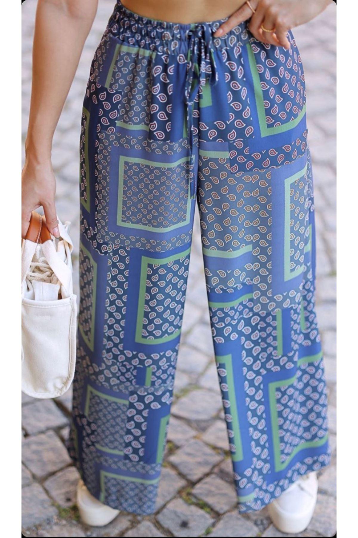 Desenli salaş pantolon