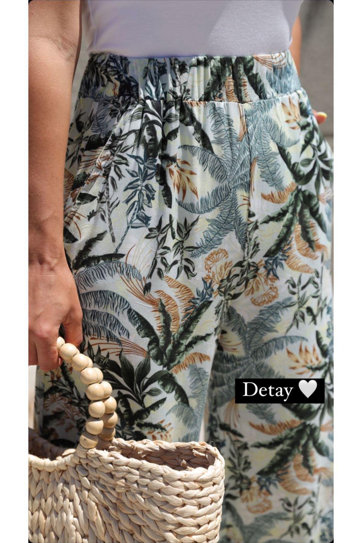 Palmiye desen beli lastikli pamuklu rahat pantolon