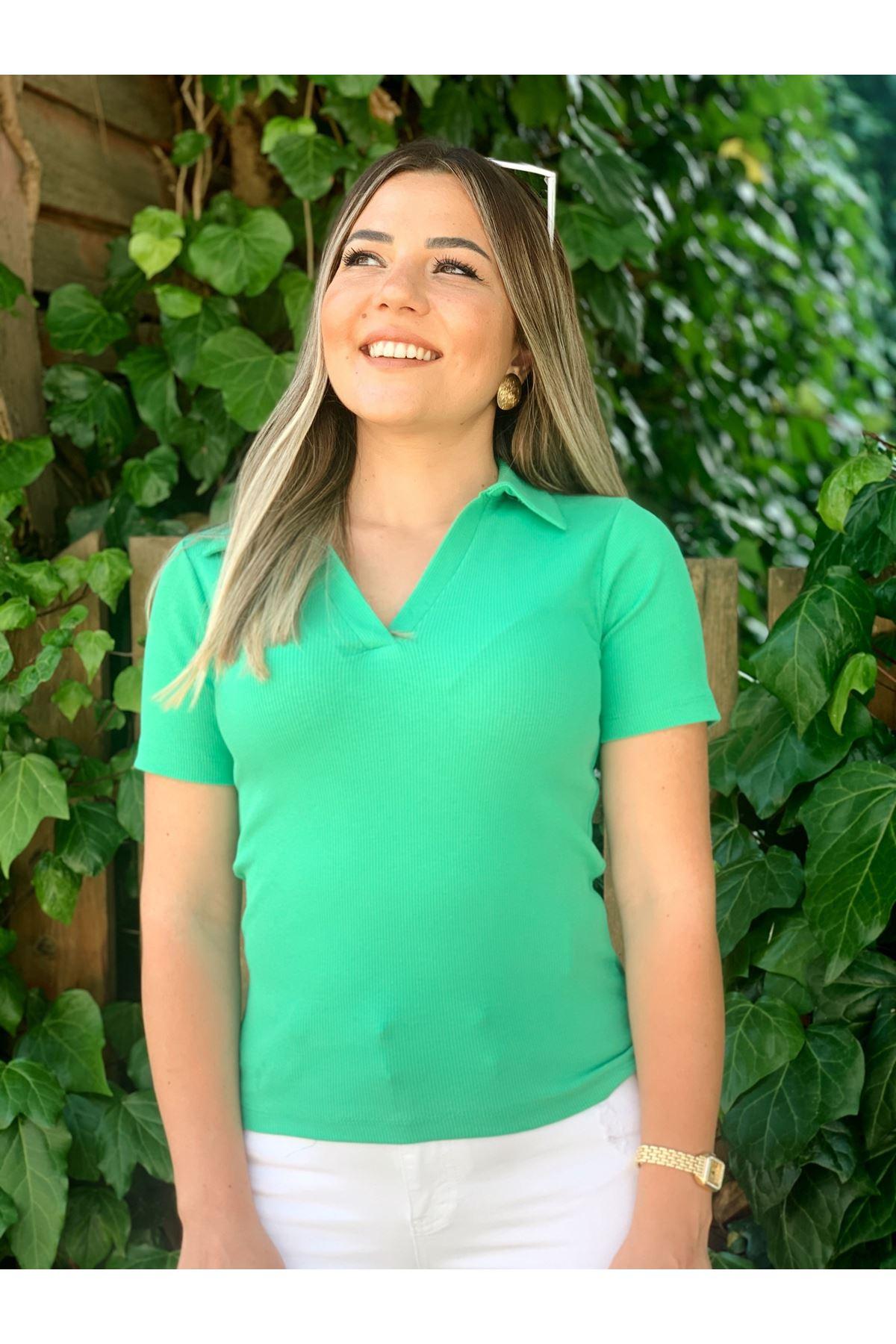 Polo Yaka Yeşil Tshirt