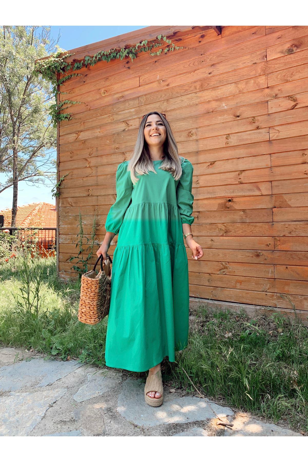 Yeşil Balon Kol Poplin Parça Dikişli Elbise