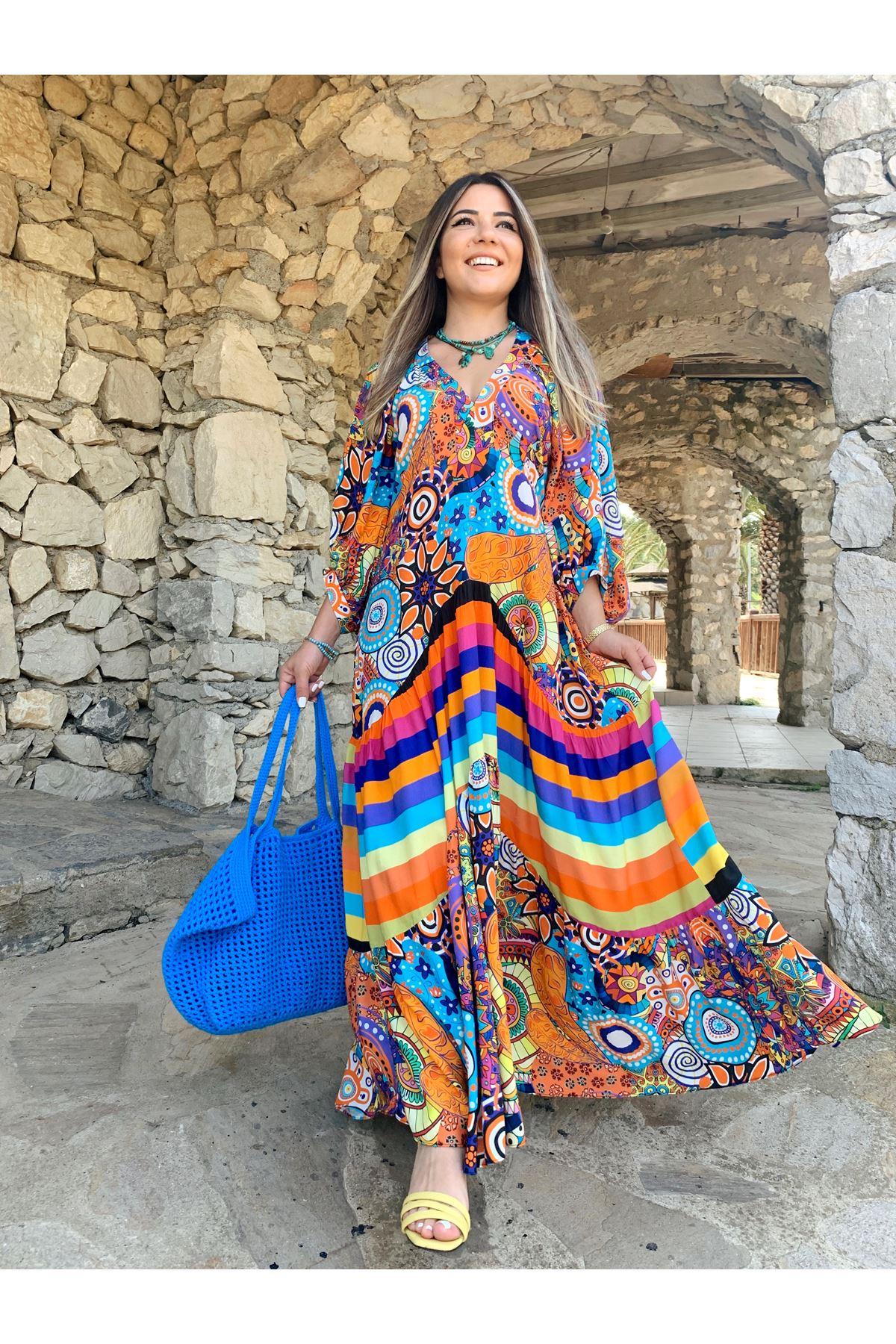 Çok Renkli Balon Kol V Yaka Karışık Etnik Desen Elbise