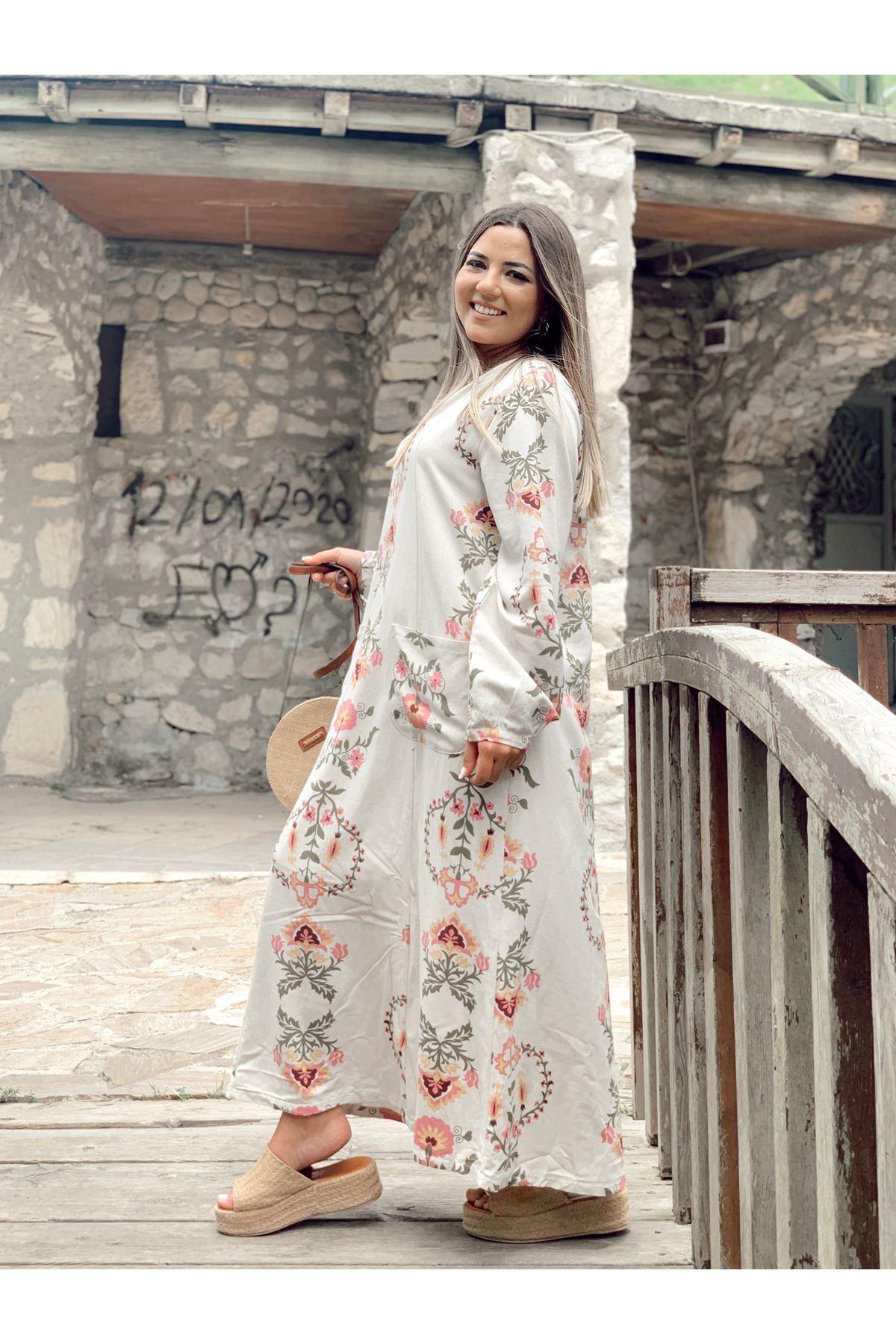 Bej Önden Dikişli ve İki Cepli V Yaka Desenli Keten Elbise