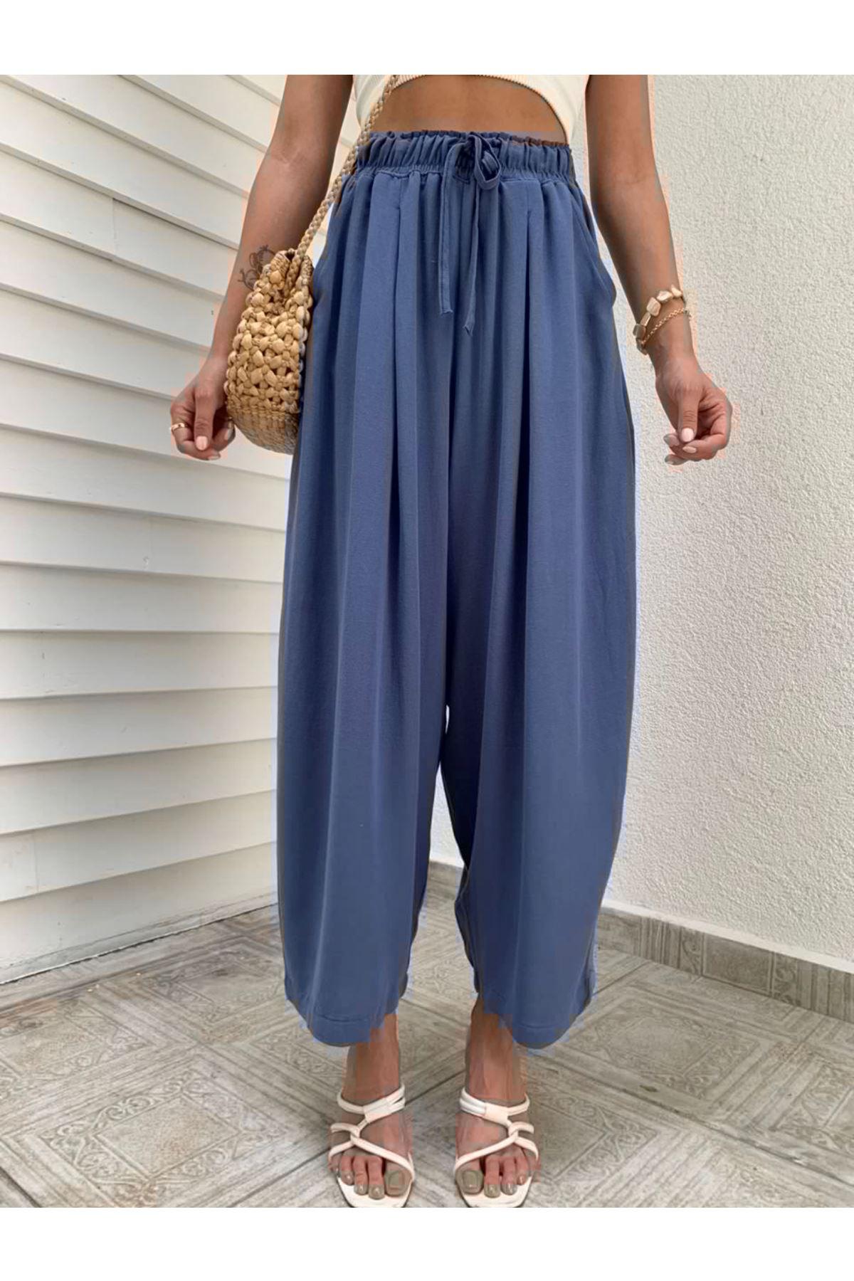 İndigo mavi Belden Lastikli Keten Şalvar Pantolon