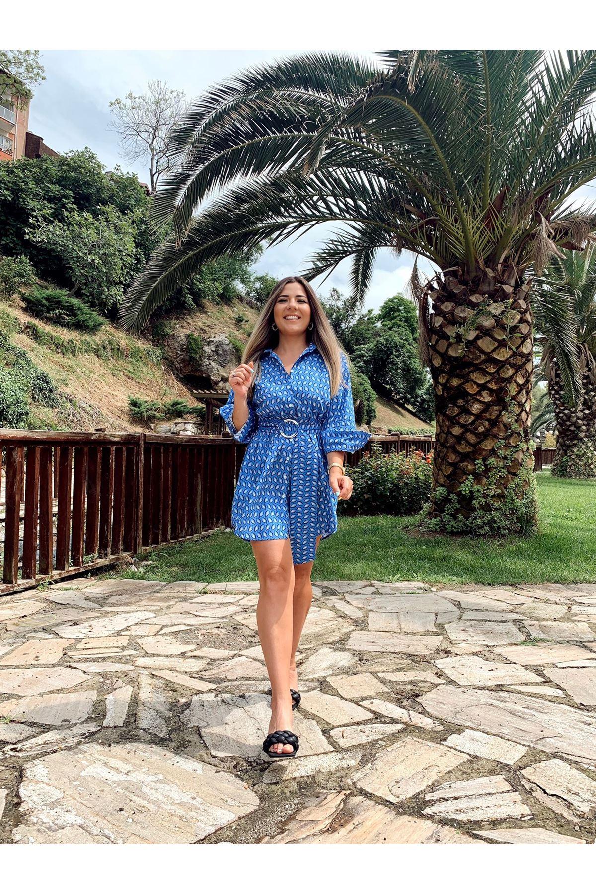 Mavi damla desenli kemerli gömlek elbise