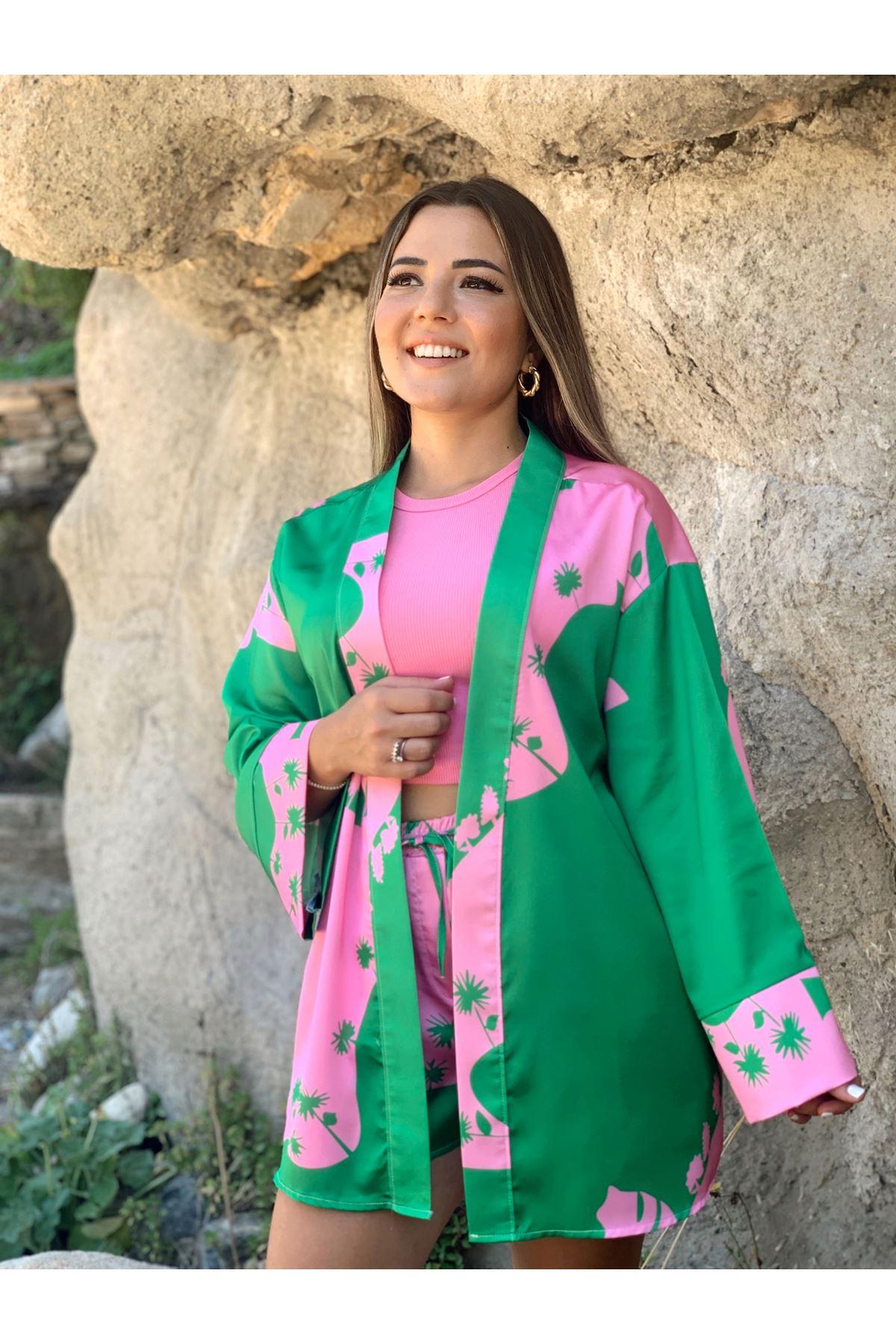 Pembe Yeşil Desenli Şortlu Kimono Takım