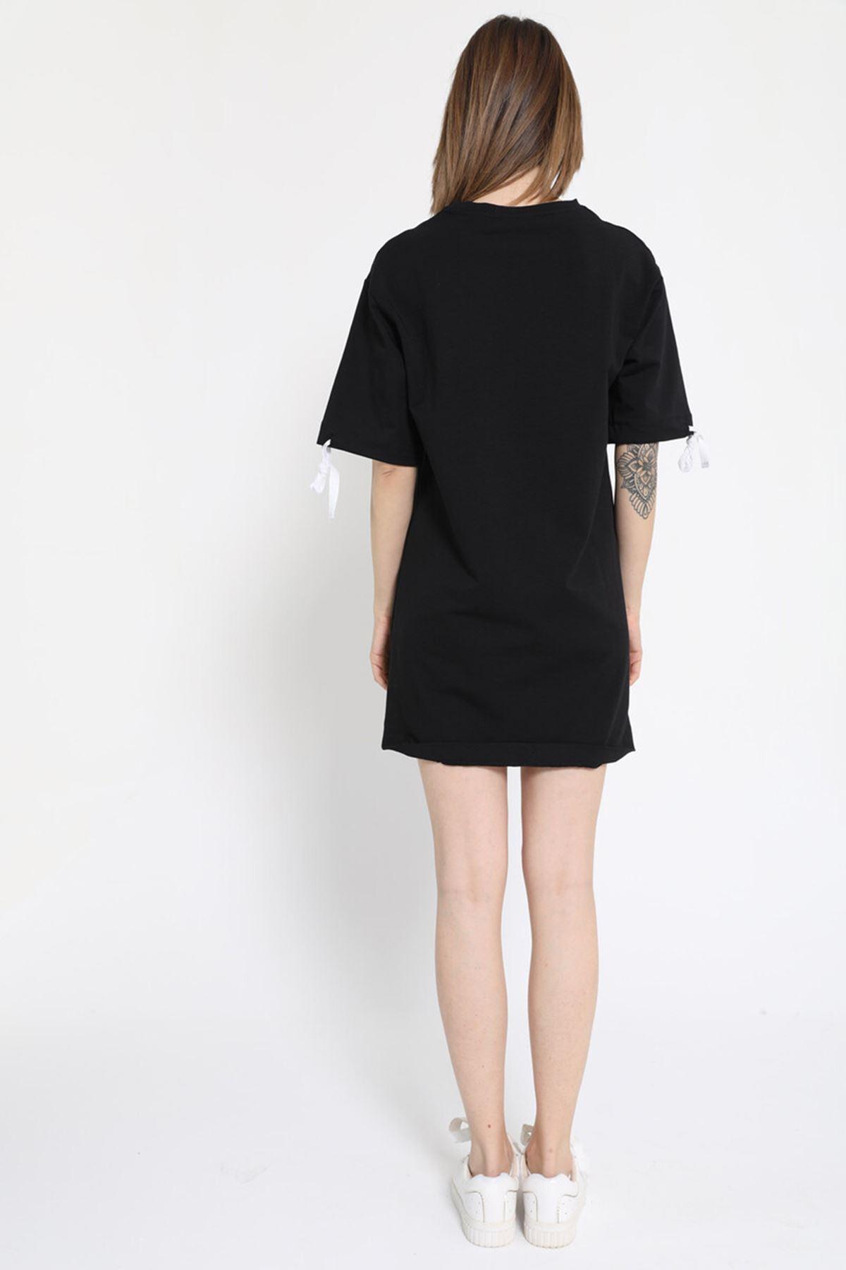 Yarım Kol Bağlama Detaylı Kısa Siyah Elbise