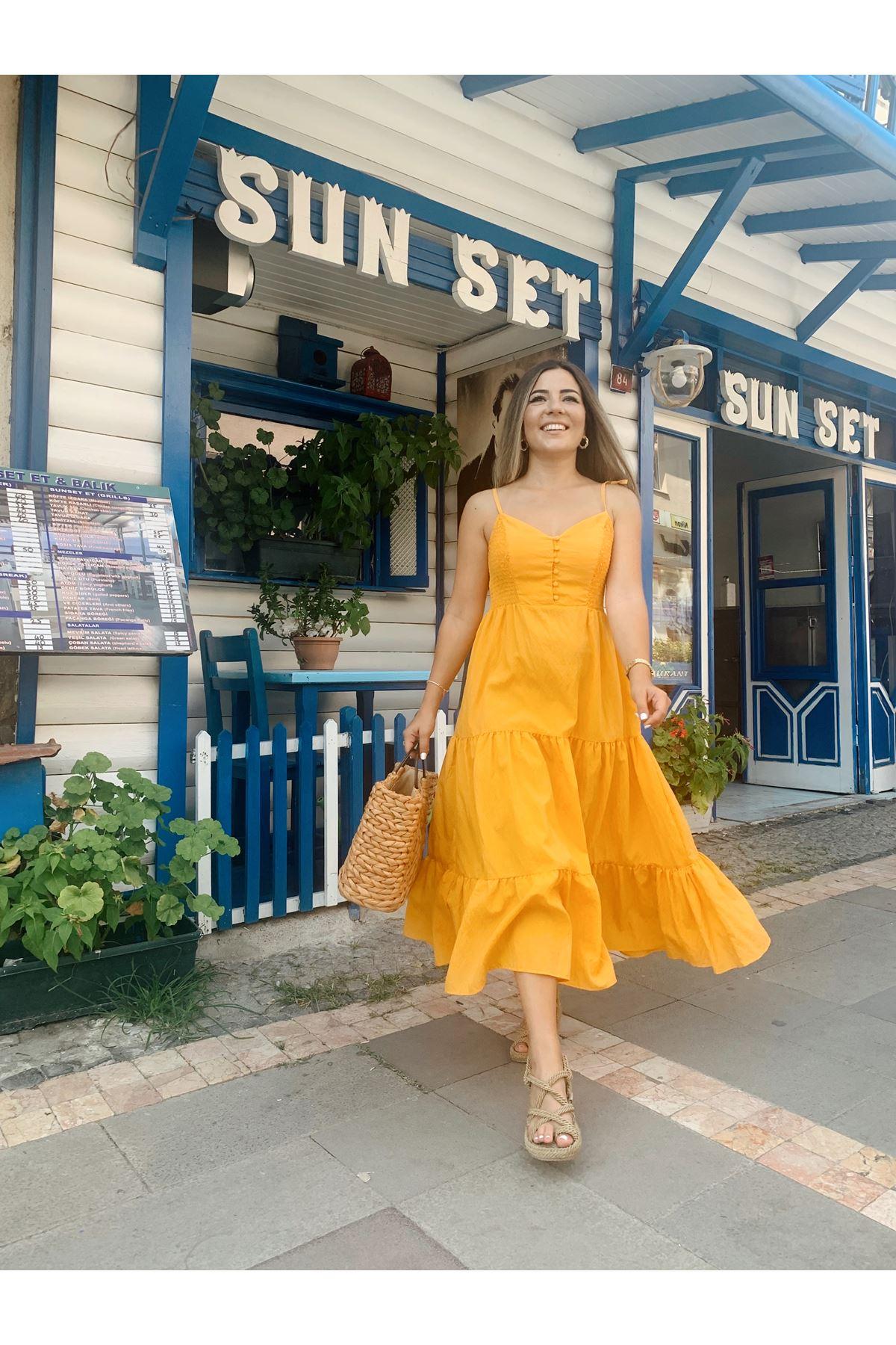 Hardal Sarı İp Askılı Gipe Detaylı Parçalı Elbise