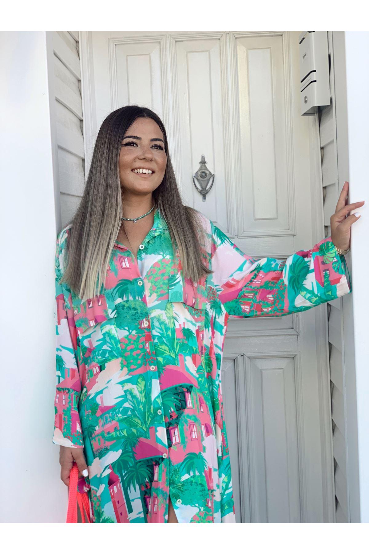 Çok Renkli Desenli Maxi Gömlek Elbise