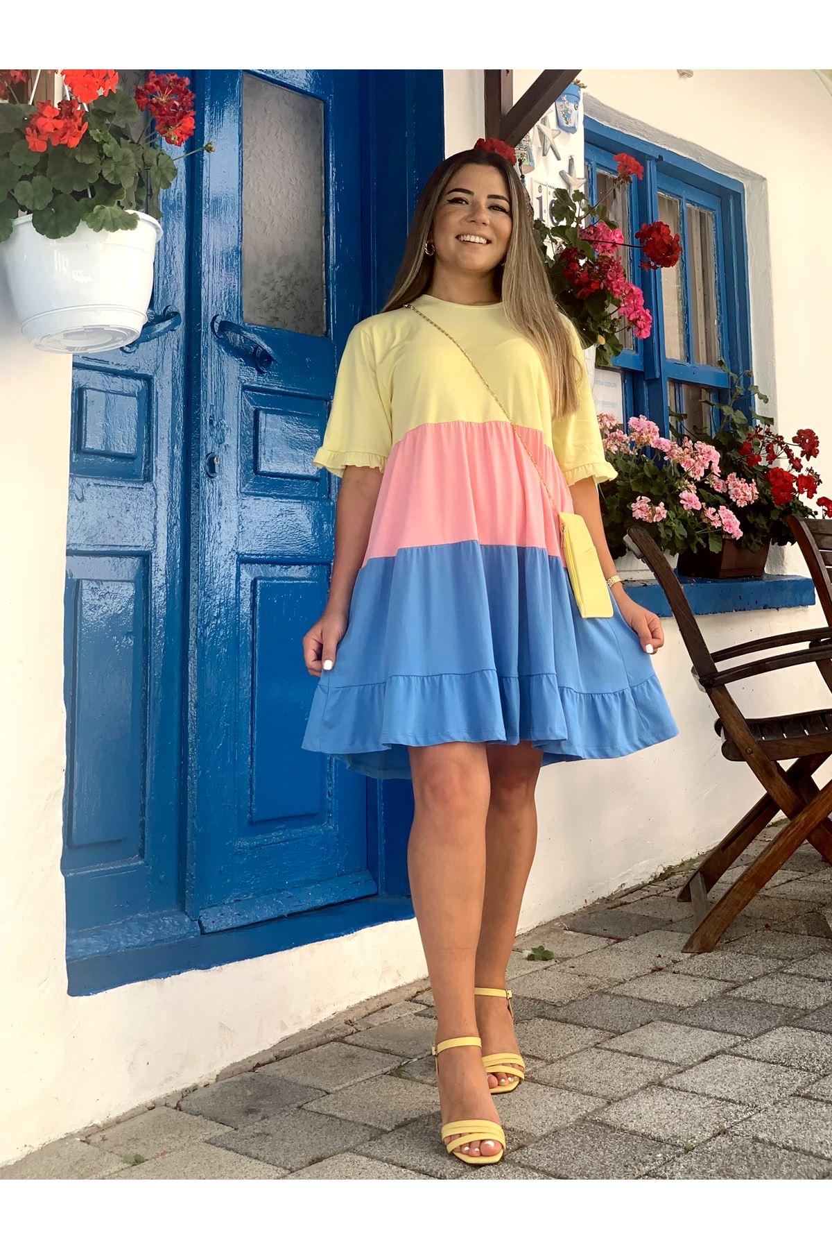 Renkli Kat Kat Elbise
