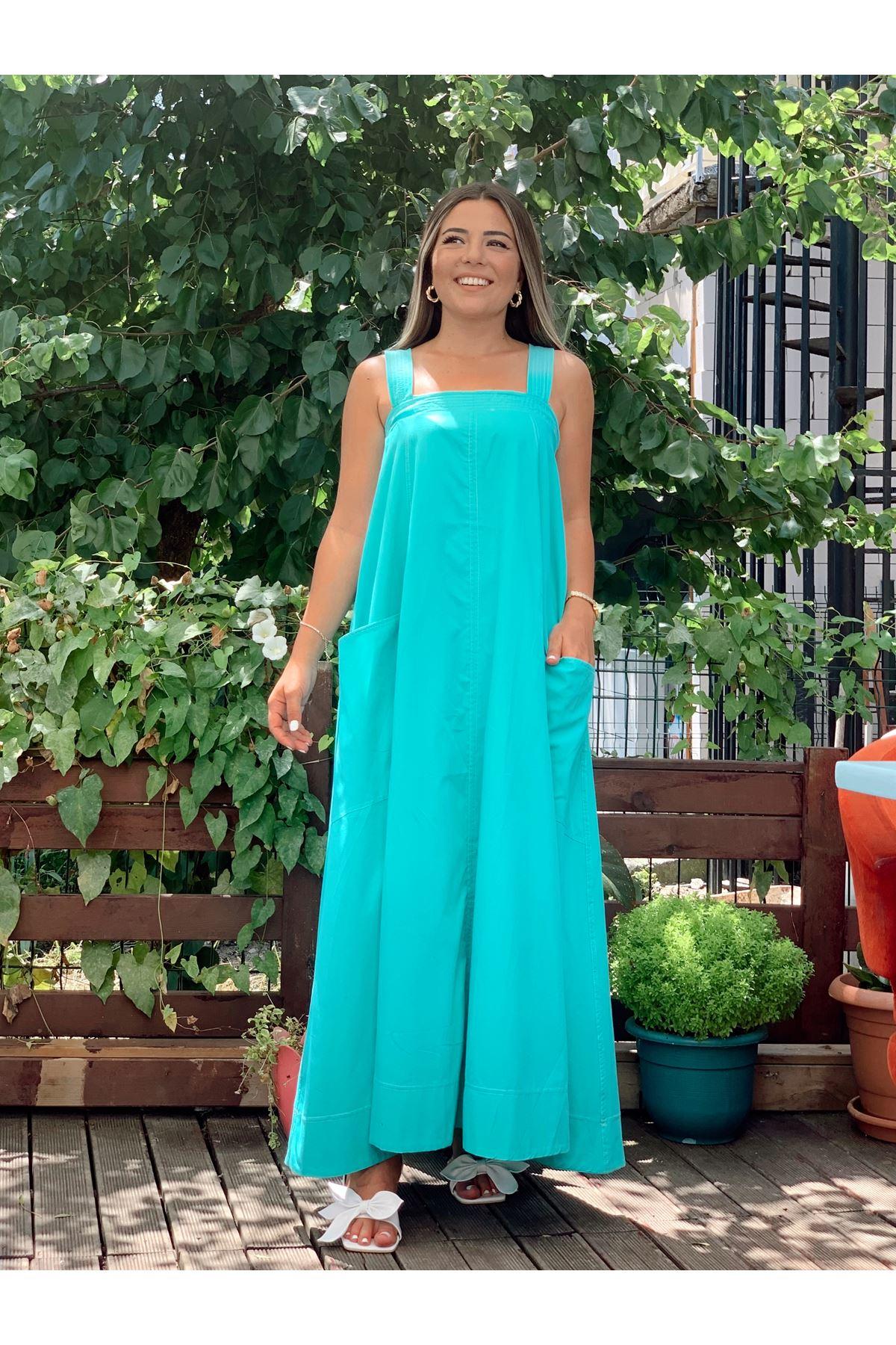 Mint İki Cepli Dikiş Detaylı Askılı Elbise