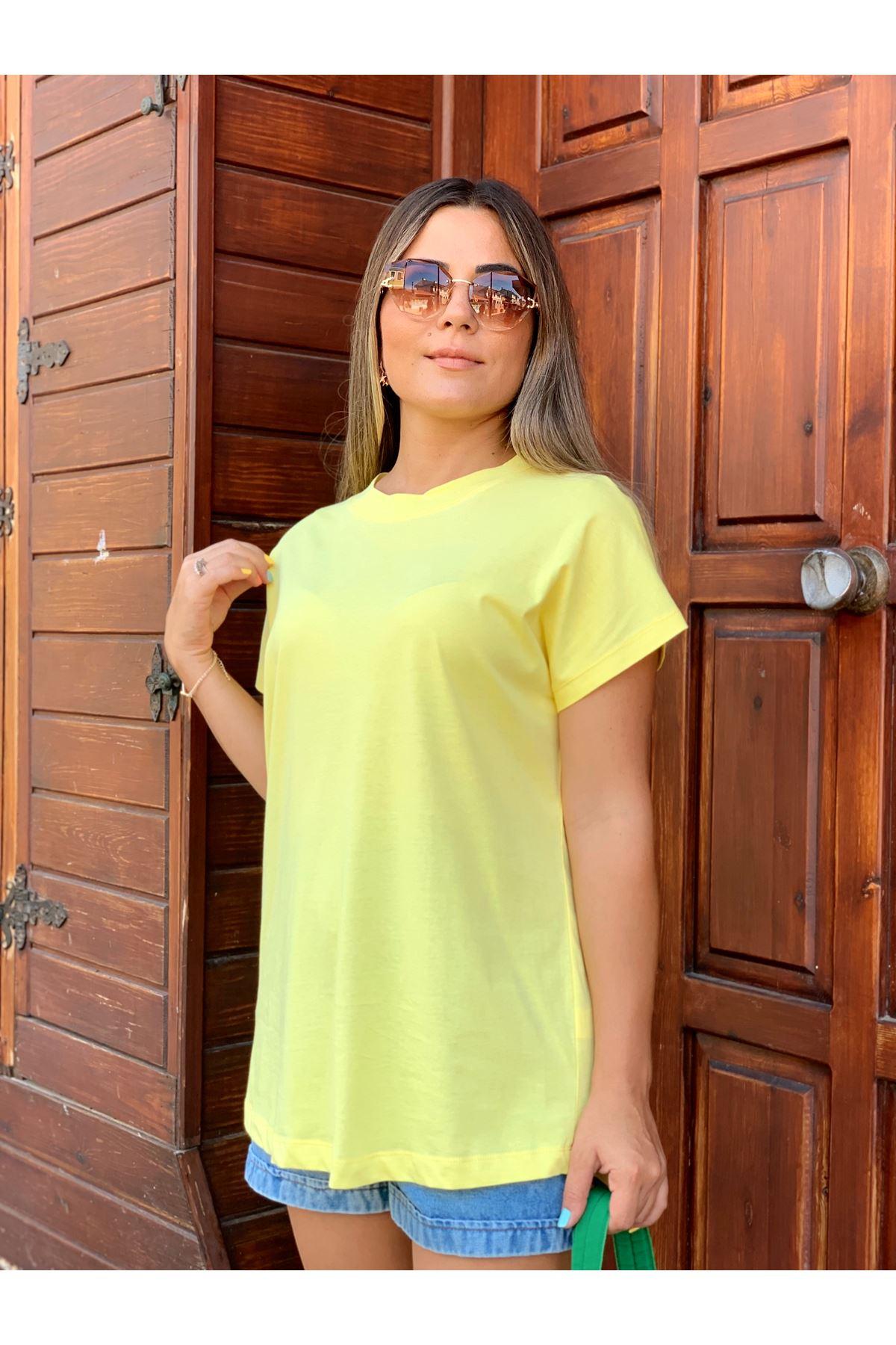 Yarım Balıkçı Düz Sarı Tshirt