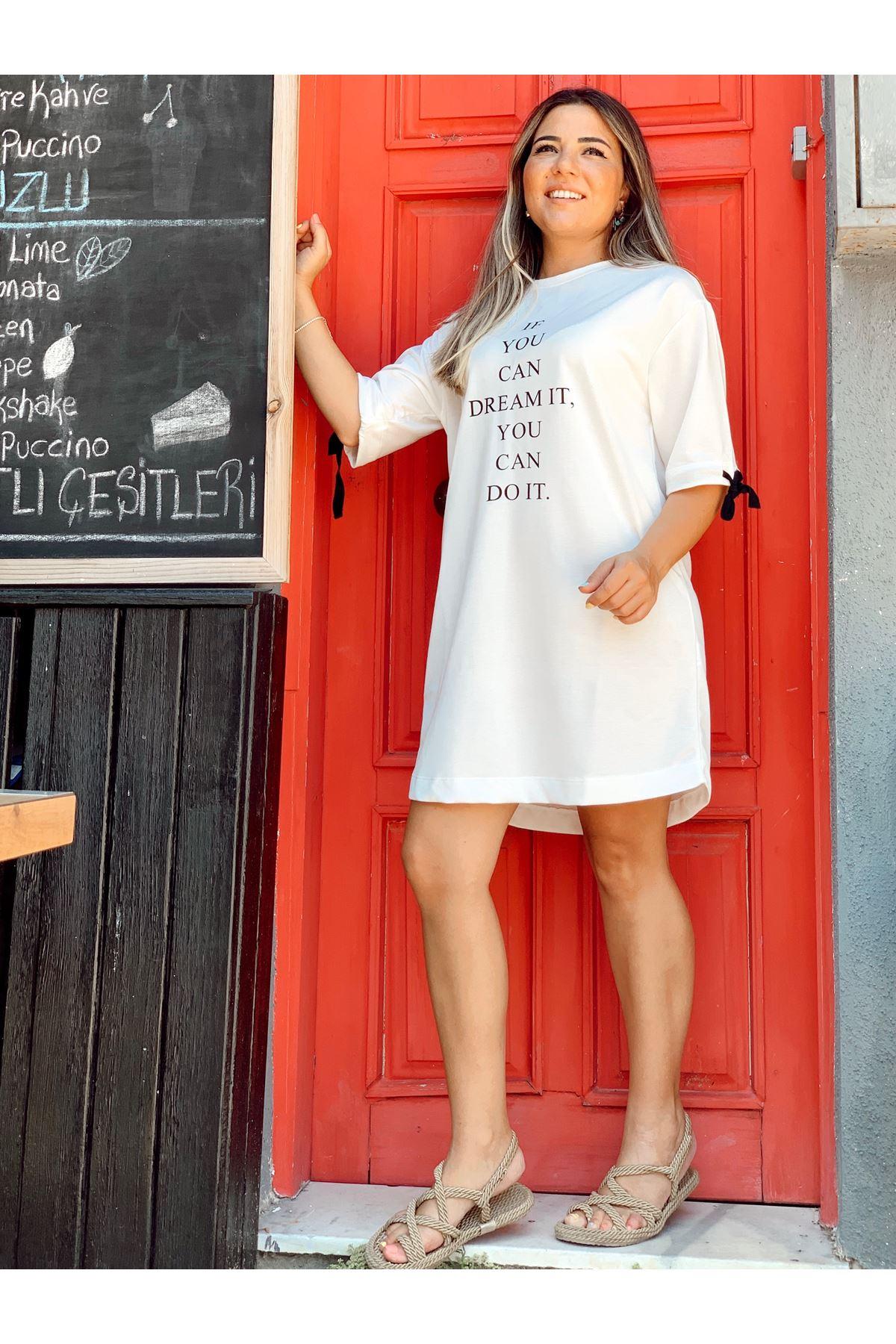 Yarım Kol Bağlama Detaylı Kısa Ekru Elbise