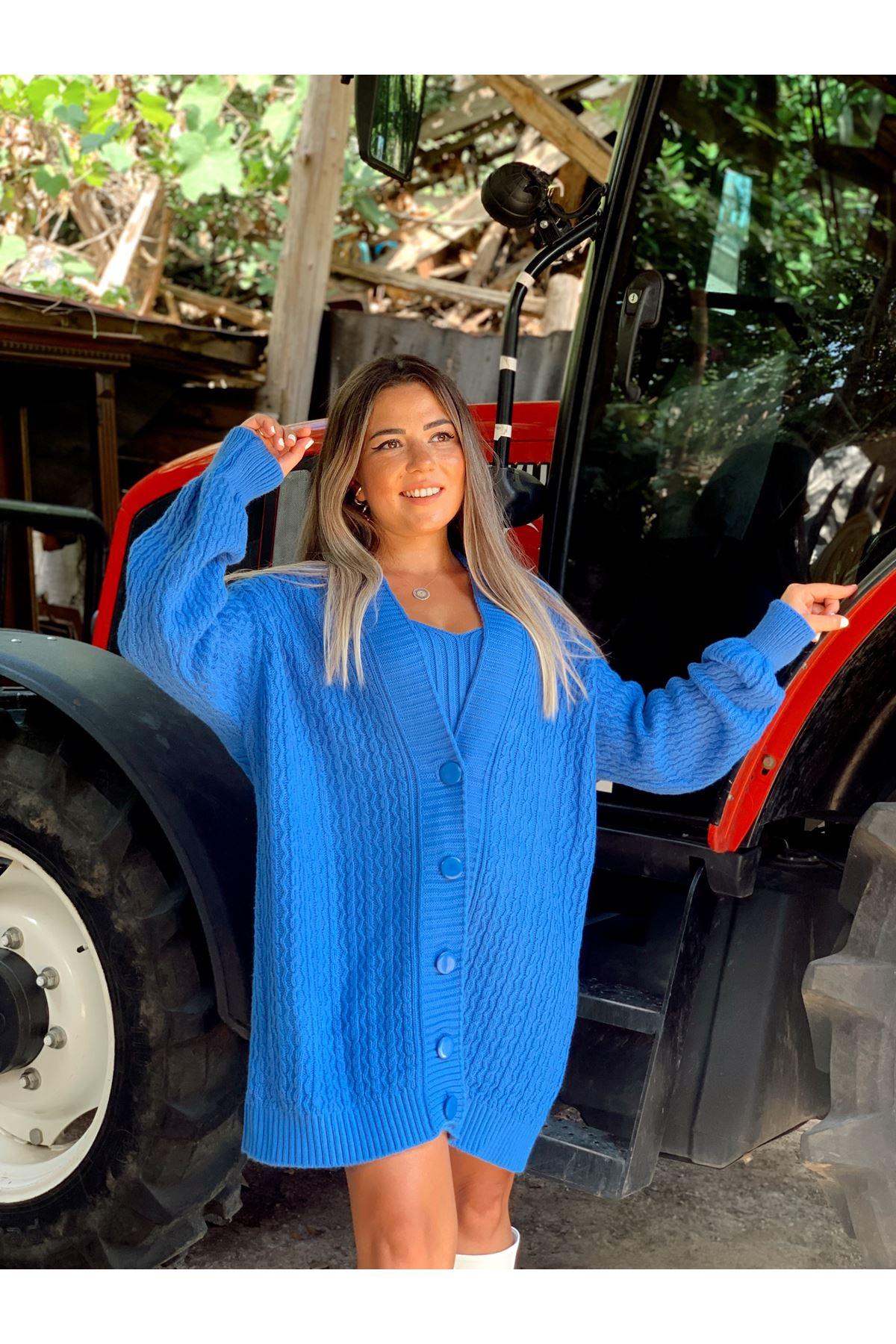 Mavi Bluz Hırka İkili Triko Takım