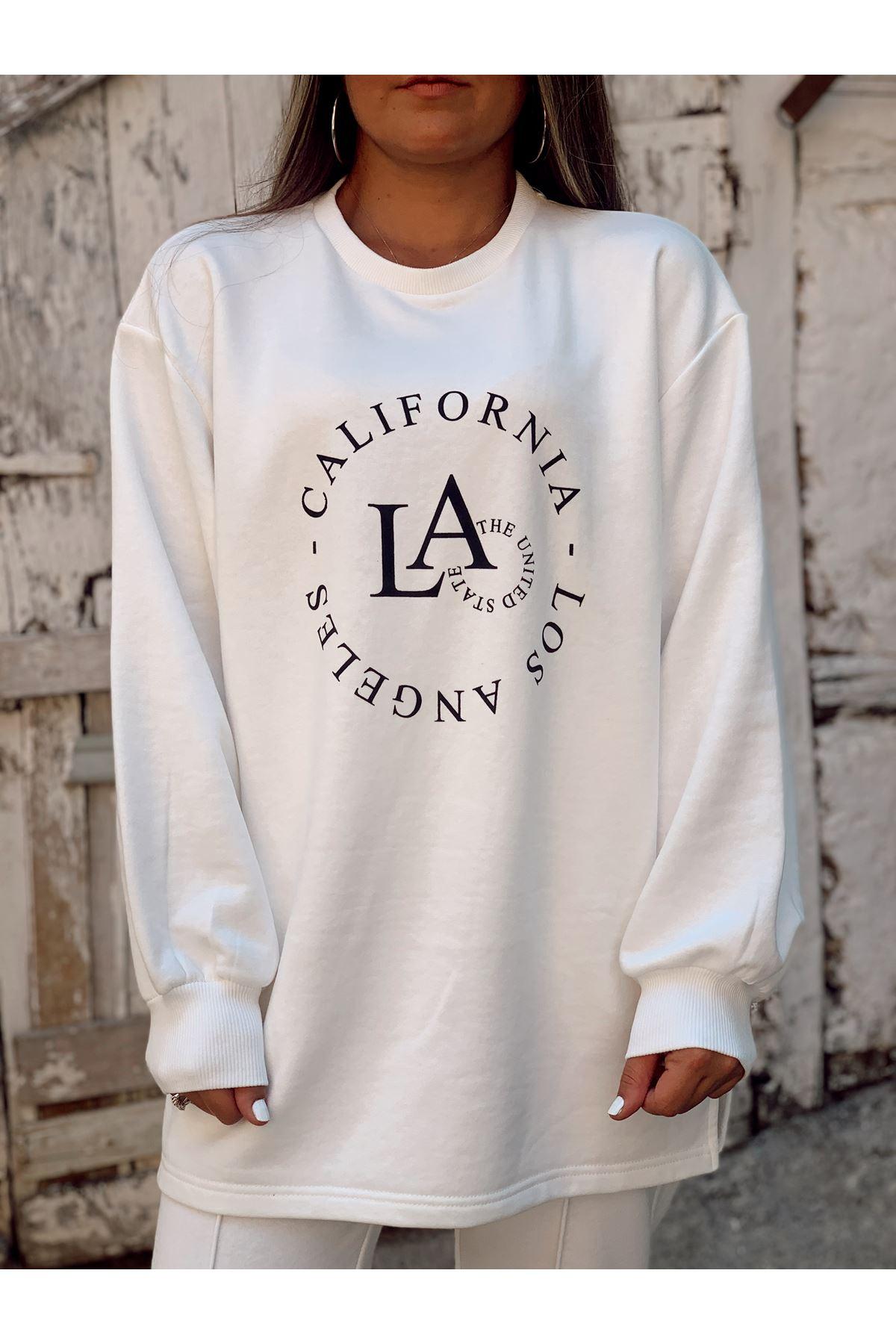 Los Angeles Baskılı Beyaz Uzun Sweat