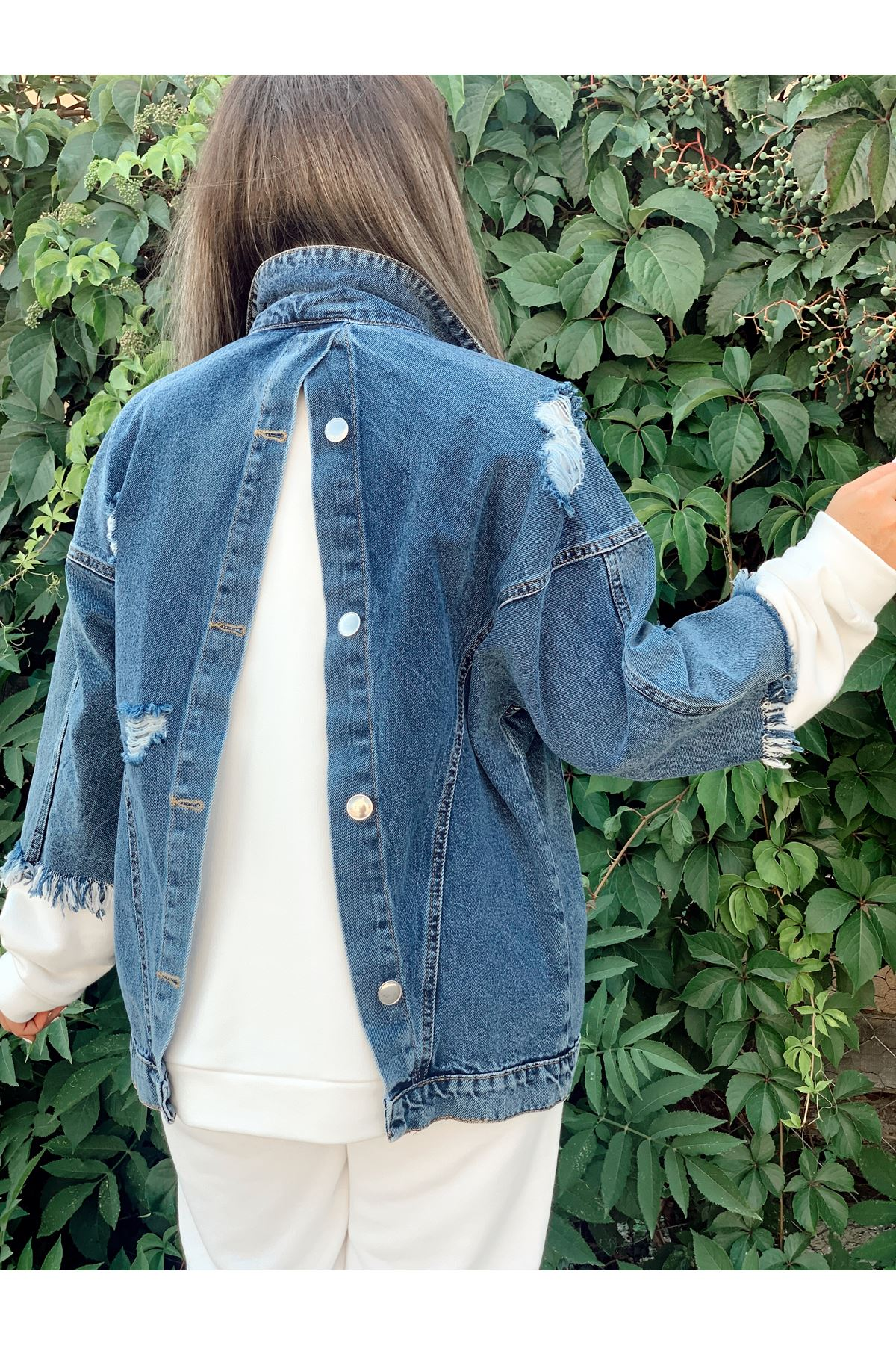 Kol ve Sırt Detaylı Mavi Kot Ceket