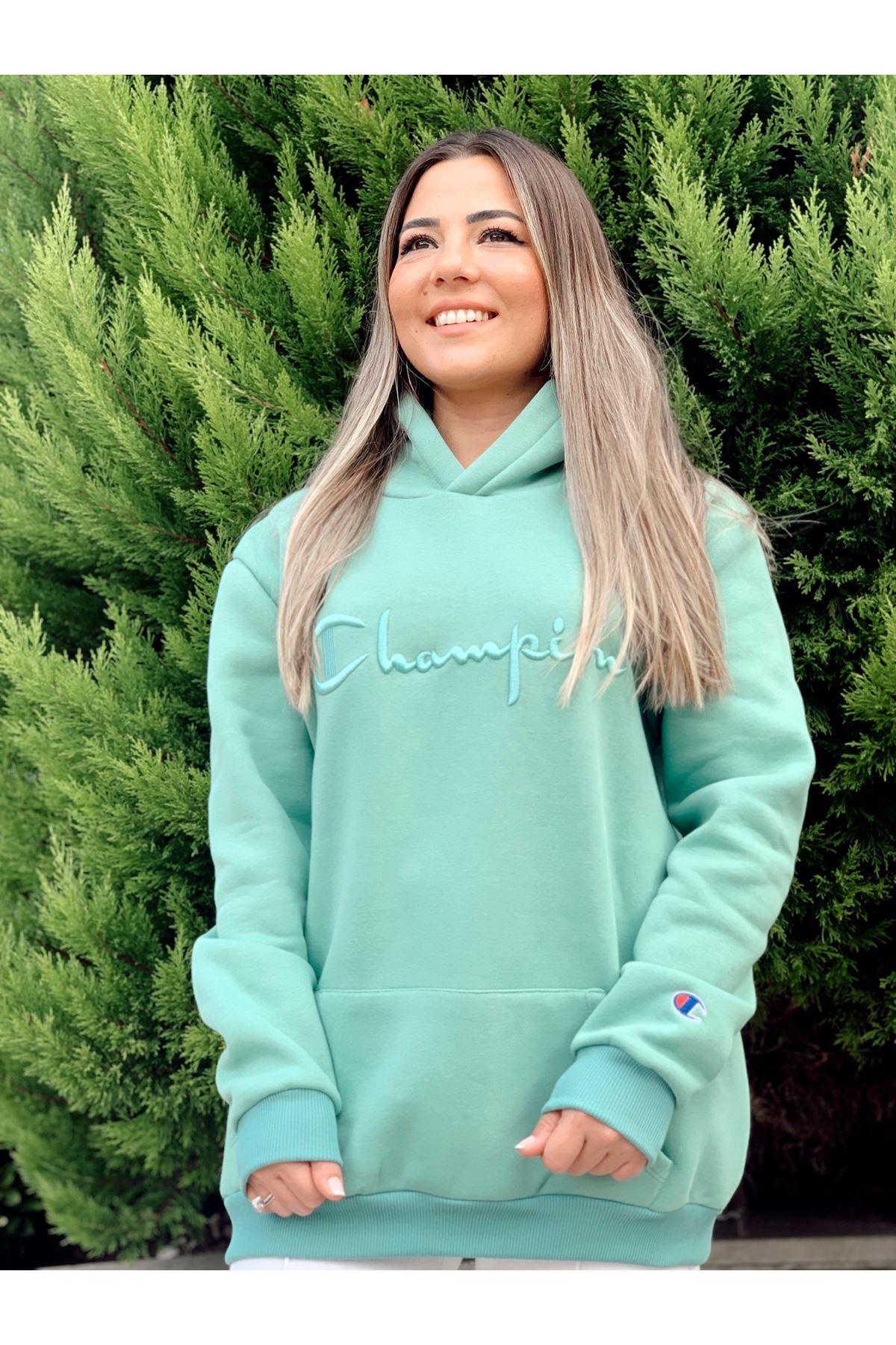 Champion Yeşil Kapüşonlu Sweatshirt