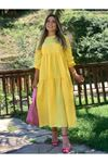 Sarı Bisiklet Yaka Poplin Parça Dikişli Elbise